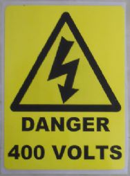 Danger 400V Warning Labels